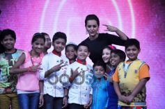 Actress Sonakshi Sinha giving pose on Junior MasterChef tv show sets.