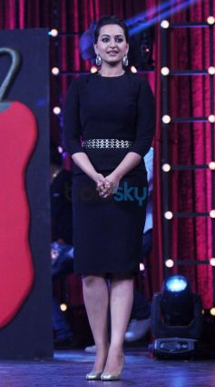 Actress Sonakshi Sinha in beautiful dress on MasterChef tv show sets.
