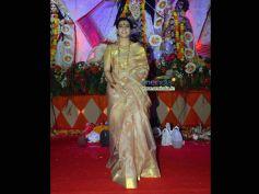 Kajol in Golden Jamdani Silk Saree on Durga Puja