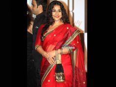 Vidya Balan in The Blood Red Saree on Durga Puja