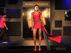 Blender Pride Fashion Tour model in red and  green outfit beautiful pose