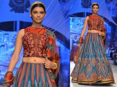 Blue and Brick Red Lehenga