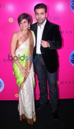 Mandira Bedi with Karan Johar at launche of store