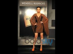 Model beautiful brown dress on the stage Blender Pride Fashion Tour
