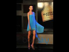 Model in beautiful blue dress Blender Pride Fashion Tour