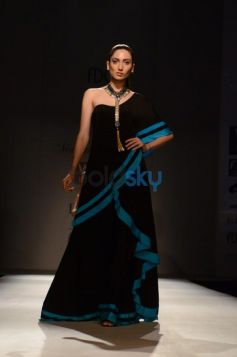 Model in Black Dress at Malini Ramani New Collection for WIFW