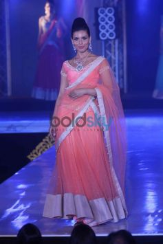 Model in light pink dress and jewellery Bombay Bullion Associations Jewellery Show and Awards