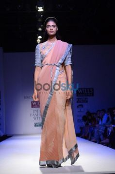 Nachiket Barve Day 1 WIFW SS 2014 model in beautiful saree