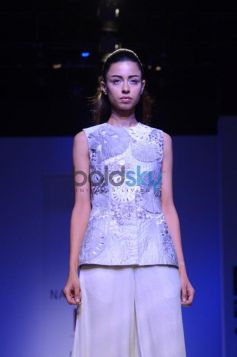 Nachiket Barve Day 1 WIFW SS 2014 model in silver outfit