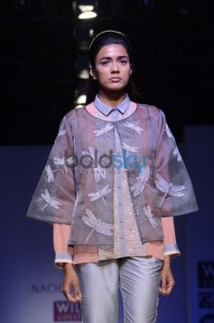 Nachiket Barve Day 1 WIFW SS 2014 model posing camera