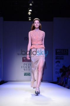 Nachiket Barve Day 1 WIFW SS 2014 pink and cream combination dress