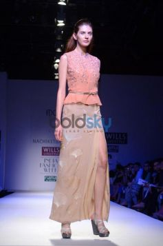 Nachiket Barve Day 1 WIFW SS 2014 pink Designer dress