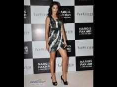 Nargis Fakhri in Black Printed Dress