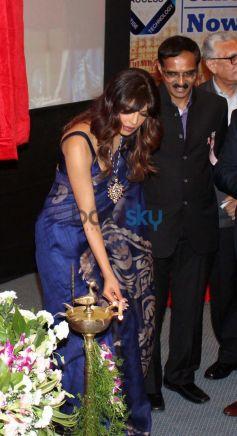 Priyanka Chopra lighting lamp at Healthcare Global Enterprises Cancer Centre Events