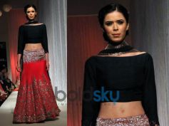 Red and silver lehenga