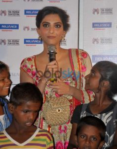 Sonam Kapoor speaking to media at documentary Screening