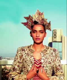 Sonam Kapoor wiith Golden Worked Dress