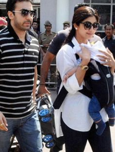 Raj Kundra and Shilpa Shetty with son Snapped in public