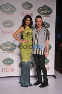 Sonam Kapoor with fashion designer Mark Fast at Signature Fashion Show