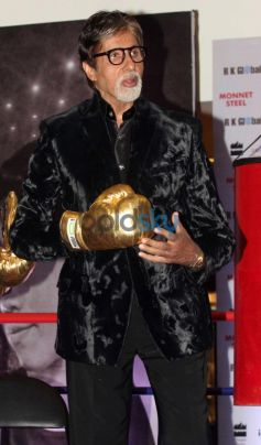Amitabh Bachchan in Gold boxing gloves during Launch