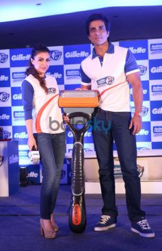 Bollywood actors Soha Ali Khan and Sonu Sood at the Gillette SIM