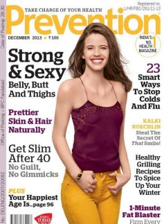 Kalki Koechlin on the Cover of Prevention Dec 2013