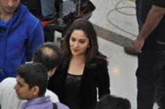 Madhuri Dixit during Oral-B ad shoot