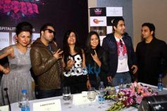 Mika Singh and hard Kaur during Press conference of MTV BOLLYLAND at Welcom Hotel Dwarka