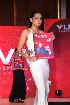 Model showing magazine during Launch of Yuva Bharat Express Magazine