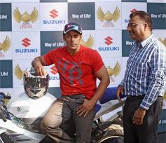 Salman Khan siting on Suzuki Bike during Event