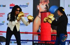 Sushmita Sen boxing moves with Mary Kom at launch