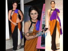 Kareena Kapoor Khan in Bold Colour Block Saree