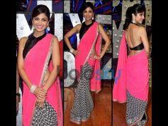 Shilpa Shetty Kundra in Pink And Black Saree