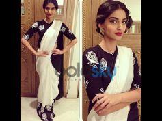 Sonam Kapoor in Black and White Saree