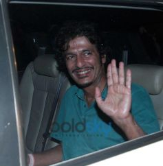 Chunky Pandey snapped in car at Filmfare 2014
