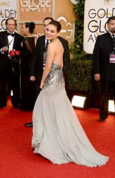 Mila Kunis on red carpet during Golden Globe Awards 2014