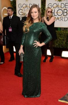 Olivia Wilde on red carpet at Golden Globe Awards 2014