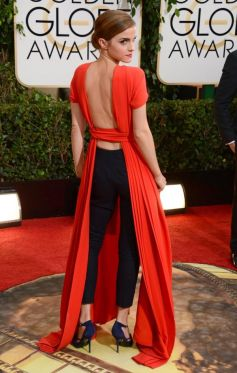 Emma Watson on red carpet at Golden Globe Awards 2014