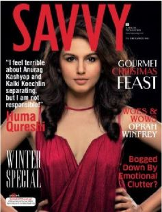 Huma Quresh on thei cover of Savvy December 2013 issue