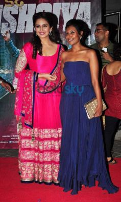Huma Qureshi in Pink outfit during Dedh Ishqiya Premiere