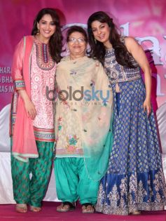 Madhuri Dixit and Juhi Chawla with Saroj Khan during Gulaab Gang Press Conference