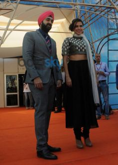 Manish Gandhi with  Neha Dhupia  at IITT 2014