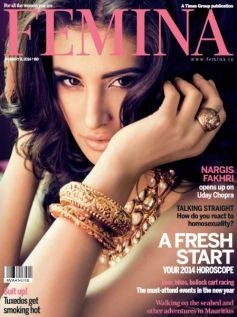 Nargis Fakhri on the cover of Femina Jan 2014