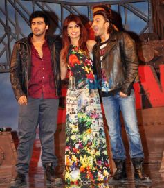 Priyanka Chopra with Ranvir Singh and Arjun Kapoor at Music Launch