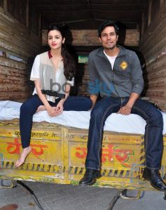 Alia Bhatt and Randeep Hooda during Highway Promotions