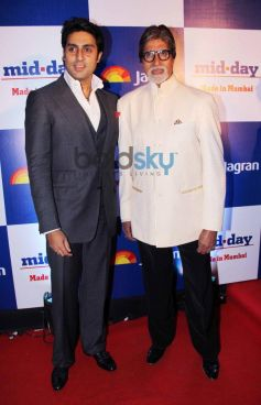 Amitabh and Abhishek Bacchan at Mid Day relaunch party