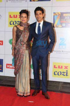 Farhan Akhtar with wife Adoona Akhtar at Zee Cine Awards 2014