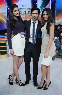 Nargis, Varun, Ileana during Mai Tera Hero promotion at India's Got Talent show