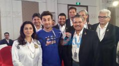 Ranbir Kapoor with Juhi Chawla at Pepsi event