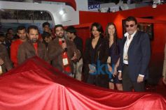 Sameera Reddy unveils the superbikeVardenchi during Auto Expo 2014